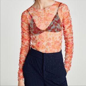 🏷Zara Orange Floral Long Sleeve Mesh Top